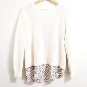 LOFT Off White Knit Sweater Floral Underlay